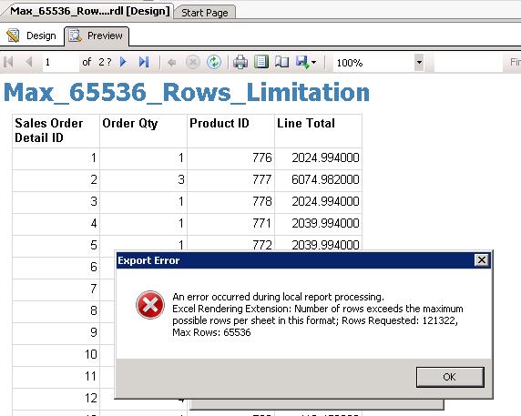 Report Export Error